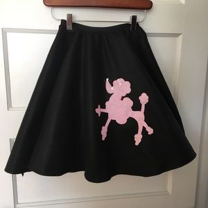 Dresses & Skirts - Felt Poodle Circle Skirt   Black Pink   Handmade